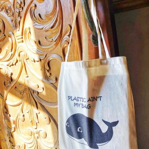 Whale Animalia Canvas Tote